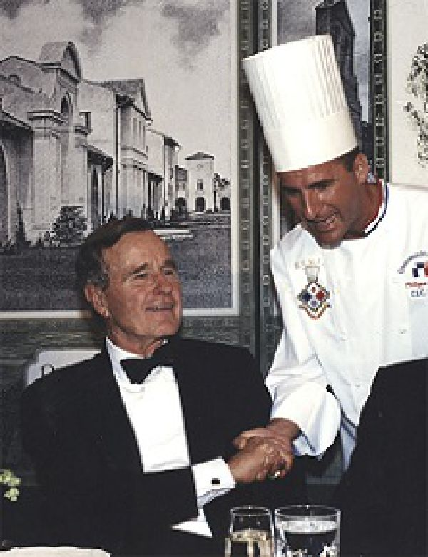 Chef Philippe with President George H.W. Bush